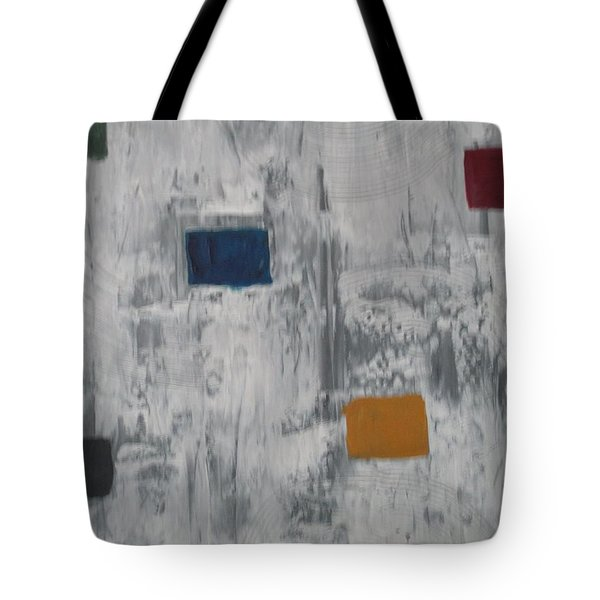 Tote Bag featuring the painting Lights In A Blizzard by Sharyn Winters