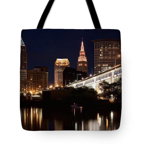 Lights In Cleveland Ohio Tote Bag