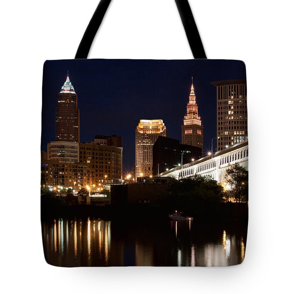Lights In Cleveland Ohio Tote Bag by Dale Kincaid