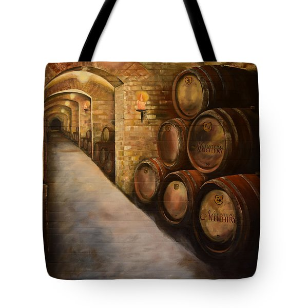 Tote Bag featuring the painting Lights In The Wine Cellar - Chateau Meichtry Vineyard by Jan Dappen