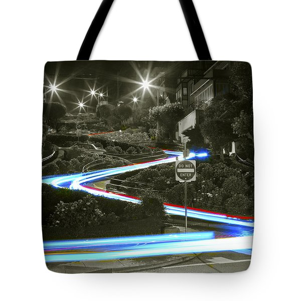 Lights On Lombard Black And White Tote Bag