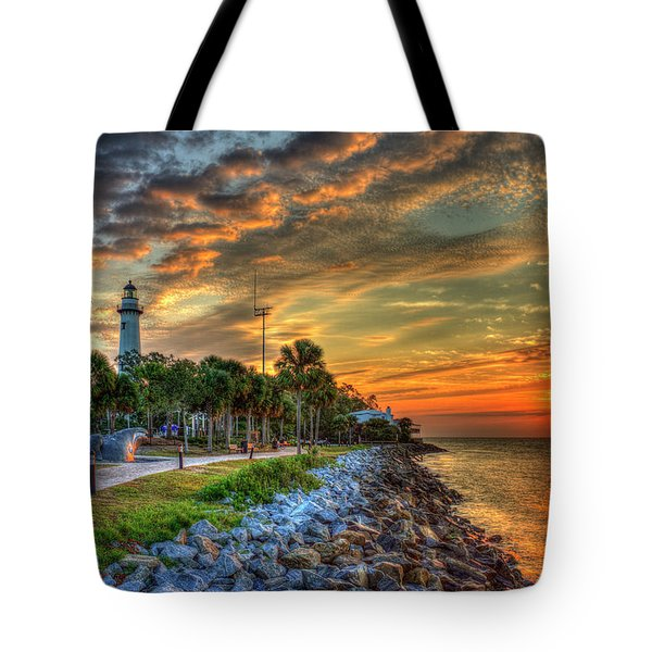 Tote Bag featuring the photograph Lights Out Suns Up St Simons Island Lighthouse Sunrise Art by Reid Callaway