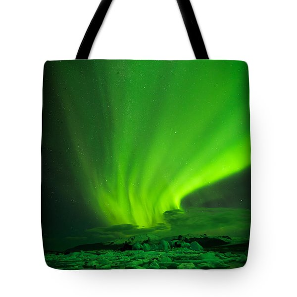 Lights Over Jokulsarlon Tote Bag by Chris McKenna