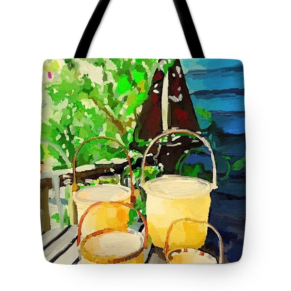 Lightship Baskets And Old Sailboat Windvane Tote Bag by Melissa Abbott