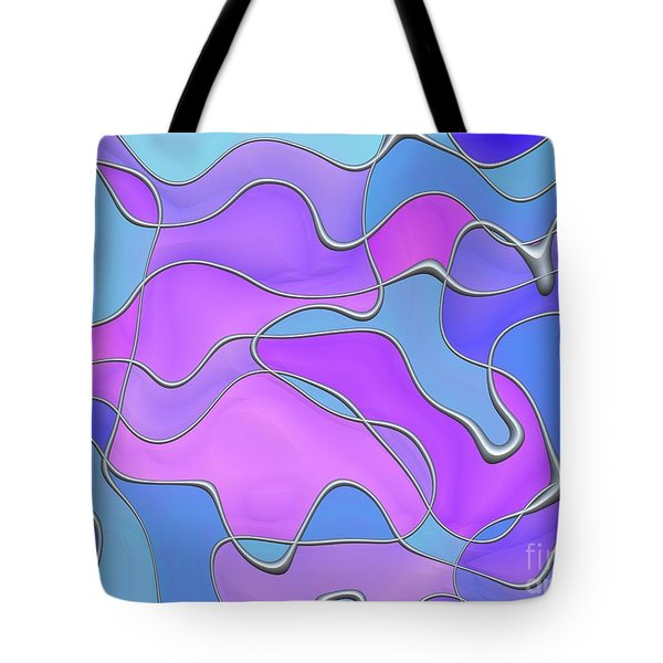 Tote Bag featuring the digital art Lignes En Folie - 02a by Variance Collections