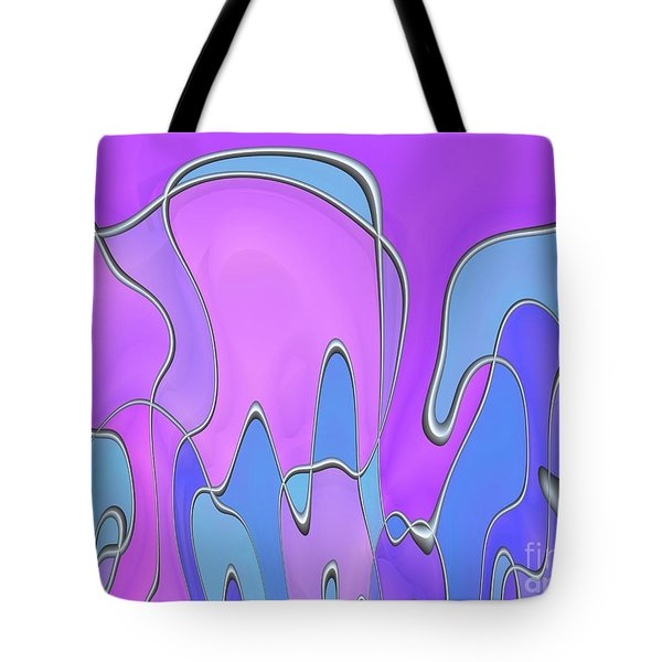 Tote Bag featuring the digital art Lignes En Folie - 03a by Variance Collections
