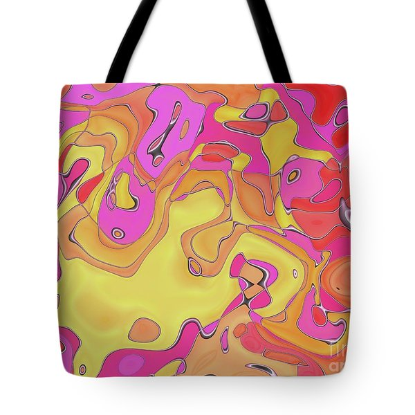 Tote Bag featuring the digital art Lignes En Folie - 08a by Variance Collections