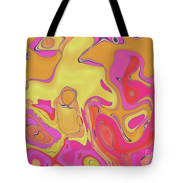 Tote Bag featuring the digital art Lignes En Folies - 05a by Variance Collections