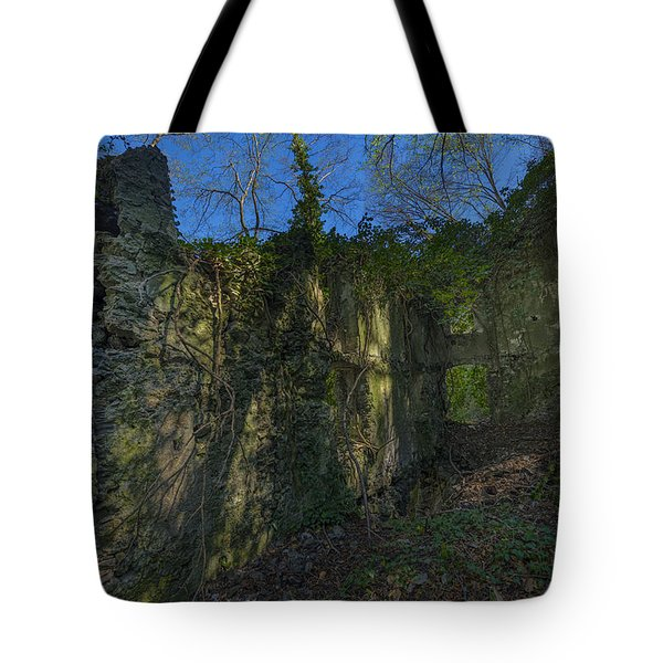 Tote Bag featuring the photograph Ligurian Jungle Covering Up Old Mill Ruins by Enrico Pelos