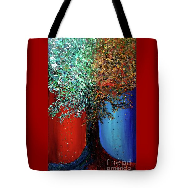 Tote Bag featuring the painting Like The Changes Of The Seasons by Ania M Milo