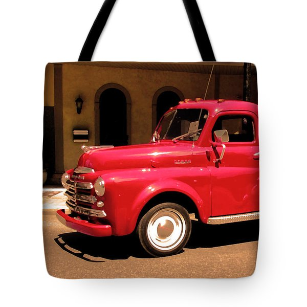 Lil Red Truck On A Dusty Street Tote Bag