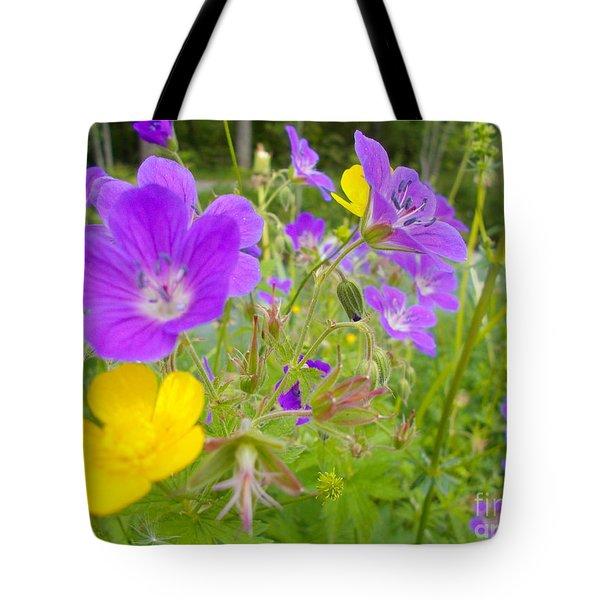 Lila Wild Flowers Tote Bag