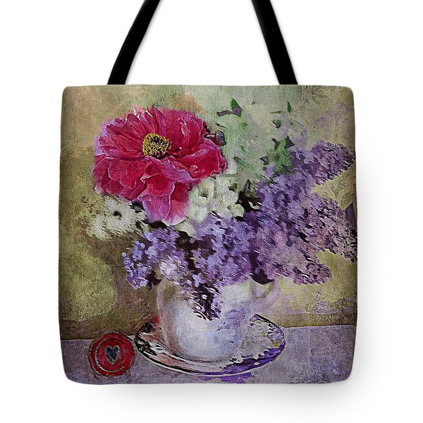 Tote Bag featuring the digital art Lilac Bouquet by Alexis Rotella