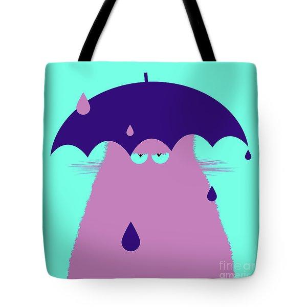 Lilac Cat With Umbrella Tote Bag