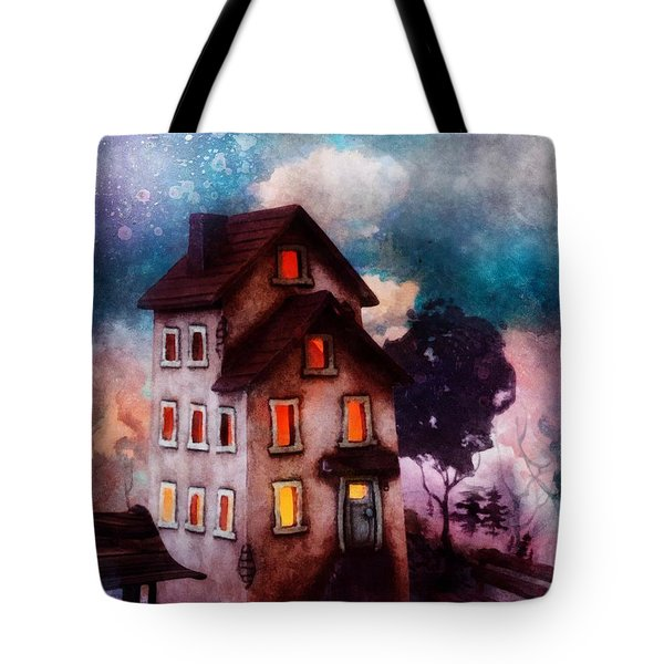 Tote Bag featuring the painting Lilac Hill by Mo T
