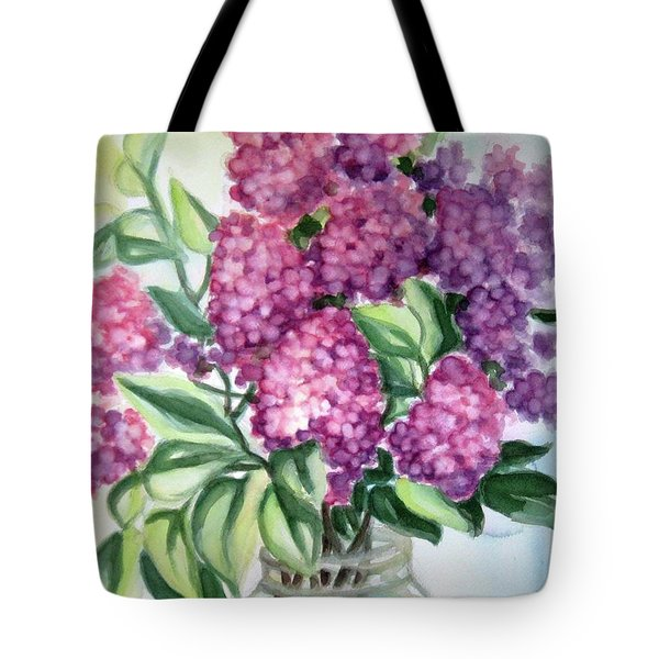 Tote Bag featuring the painting Lilac On The Kitchen Table by Inese Poga