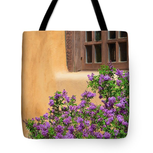 Lilacs And Adobe Tote Bag by Catherine Sherman