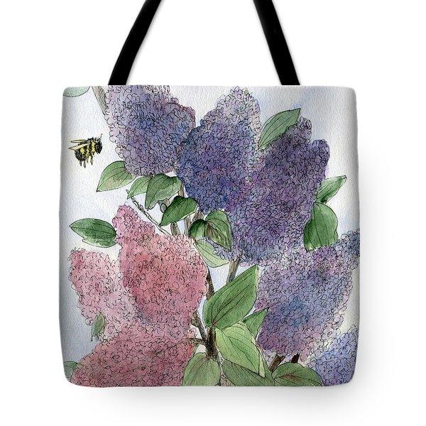 Lilacs And Bees Tote Bag