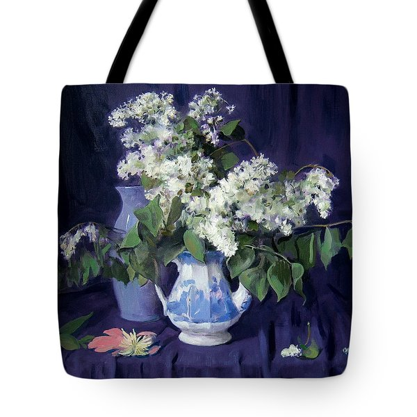 Lilacs And Blue Tote Bag