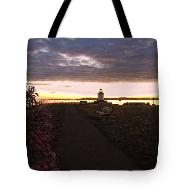 Lilacs At Portland Breakwater Light Tote Bag