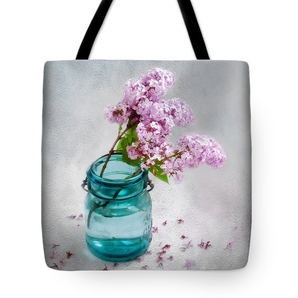 Lilacs In A Glass Jar Still Life Tote Bag by Louise Kumpf