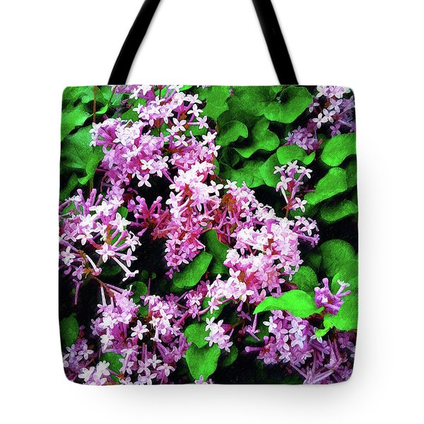 Tote Bag featuring the painting Lilacs In May by Sandy MacGowan