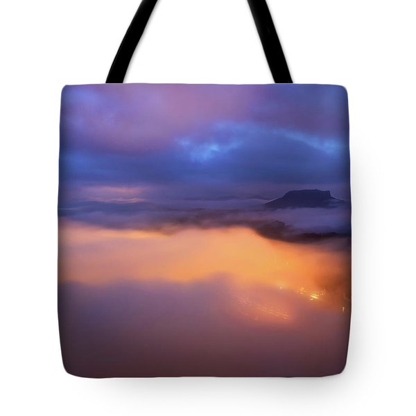 Lilienstein Night View, Saxon Switzerland, Germany Tote Bag