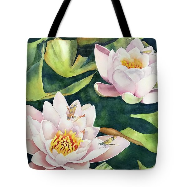 Lilies And Dragonflies Tote Bag