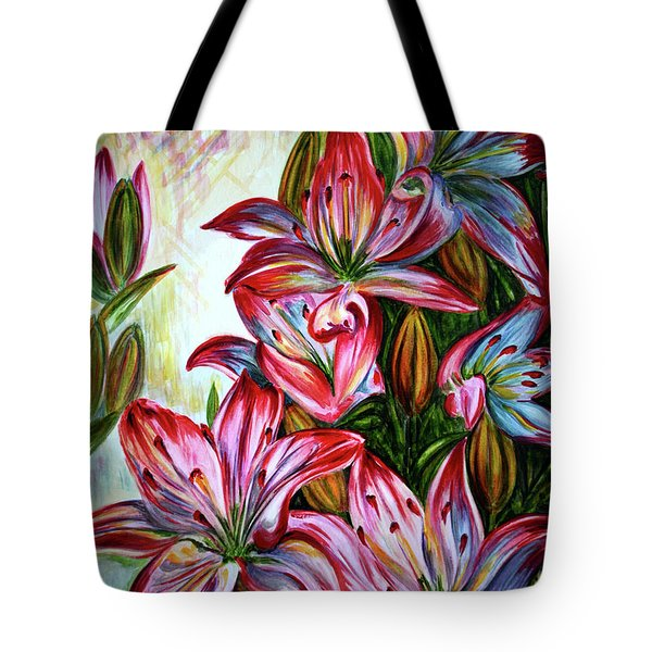 Tote Bag featuring the painting Lilies by Harsh Malik