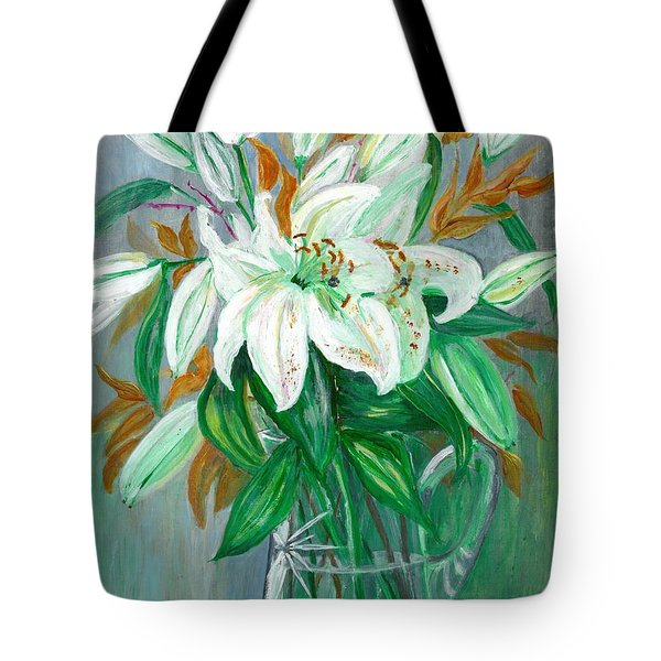 Lilies In A Glass Vase - Painting Tote Bag