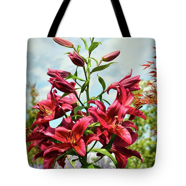 Tote Bag featuring the photograph Lilies In The Garden by Kerri Farley