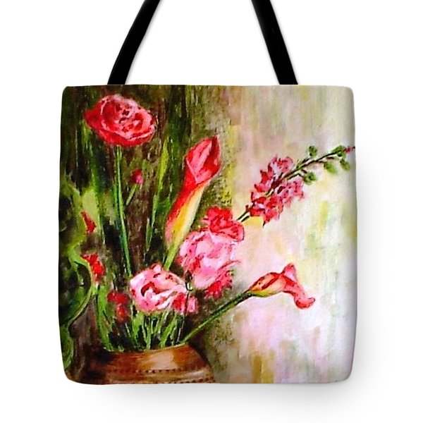 Tote Bag featuring the painting Lilies In The Pots by Harsh Malik