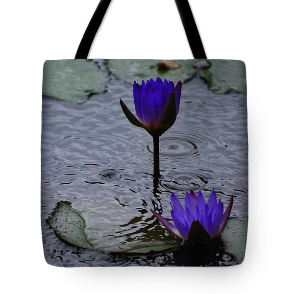 Tote Bag featuring the photograph Lilies In The Rain by Amee Cave