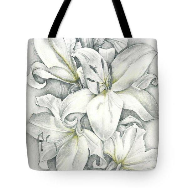 Lilies Pencil Tote Bag