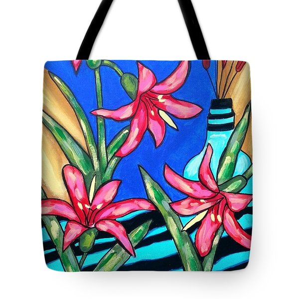 Lilies With A Vase Tote Bag