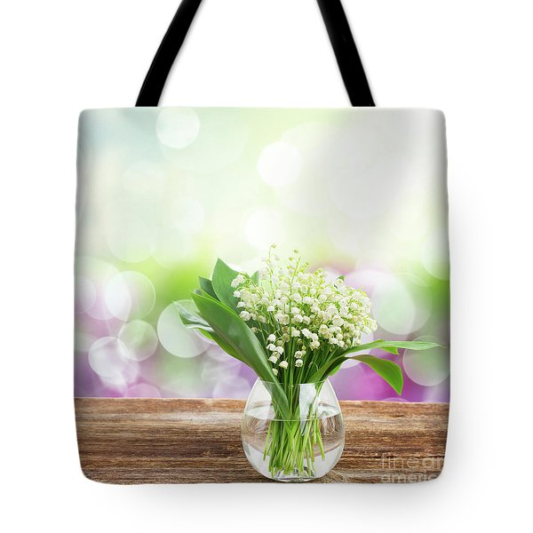 Lilly Of Valley Posy In Glass Tote Bag