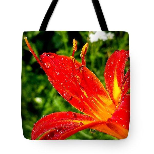 Lily And Raindrops Tote Bag