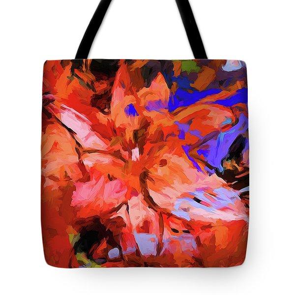Lily Cobalt Orange Tote Bag