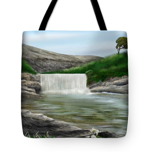 Tote Bag featuring the digital art Lily Creek by Mark Taylor