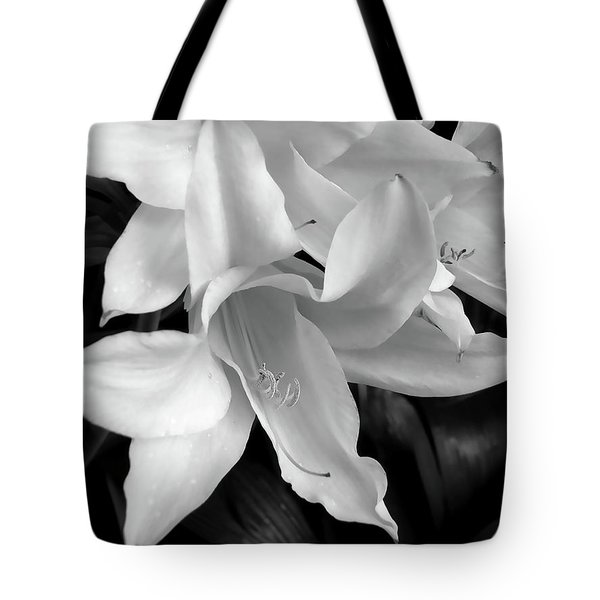 Lily Flowers Black And White Tote Bag