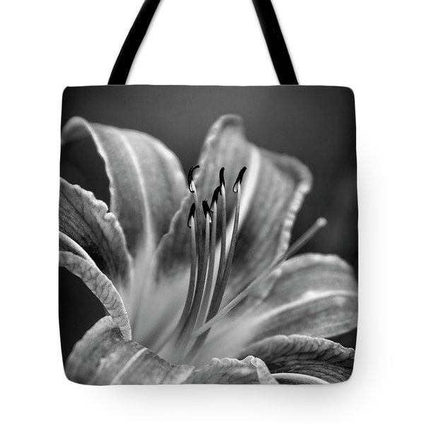 Lily In Black And White Tote Bag by Chrystal Mimbs