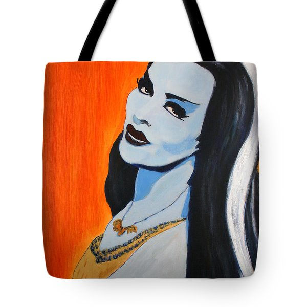 Tote Bag featuring the painting Lily Munster - Yvonne De Carlo by Bob Baker