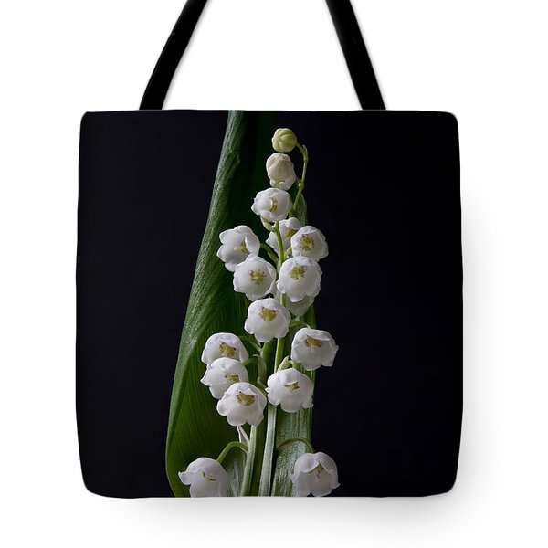 Lily Of The Valley On Black Tote Bag
