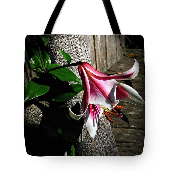 Tote Bag featuring the photograph Lily On Barn Wood by Judy  Johnson