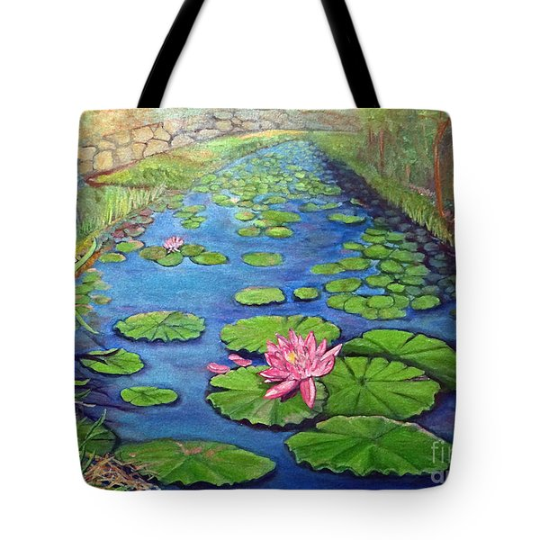 Tote Bag featuring the painting Water Lily Canal by Ecinja Art Works