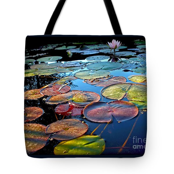 Lily Pads At Sunset Tote Bag by Kaye Menner