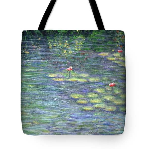 Lily Pads Triptych Part Three Tote Bag by Linda Mears