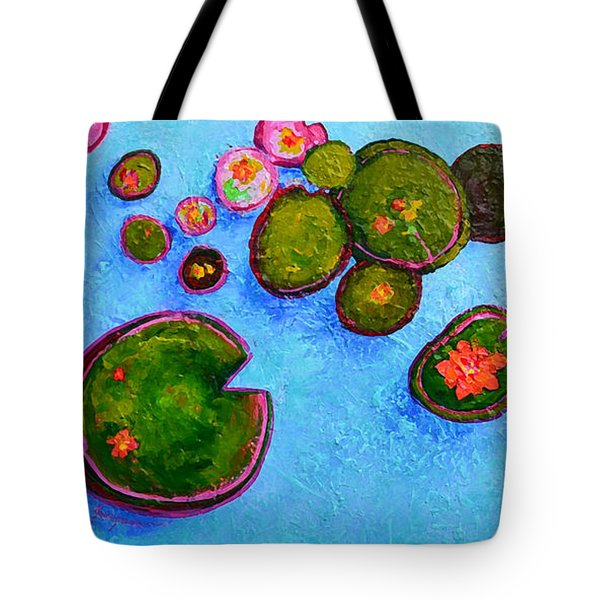 Lily Pads Waterlilies Pond Modern Impressionist Landscape Palette Knife Artwork Tote Bag