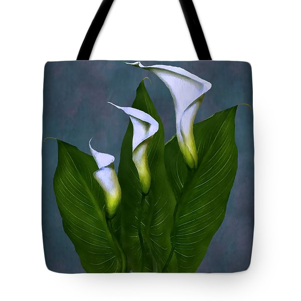 Tote Bag featuring the painting White Calla Lilies by Peter Piatt