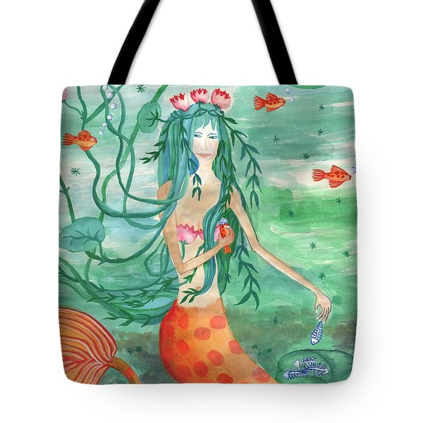 Lily Pond Mermaid With Goldfish Snack Tote Bag by Sushila Burgess